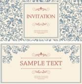 Conjunto de antigos cartões de felicitações, convite com ornamen vitoriana — Vetor de Stock