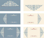 Set of six business cards with victorian pattern — Stock Vector