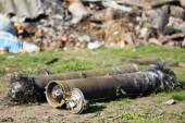 Unexploded ordnance from multiple rocket launchers — Stock Photo