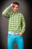 Cara de camisa quadriculada — Fotografia Stock