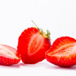 Ripe red strawberries on white background isolated — Stock Photo #74044015