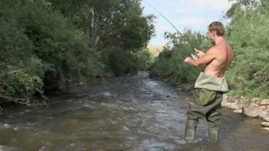 Fisherman Caught Trout. — Stock Video