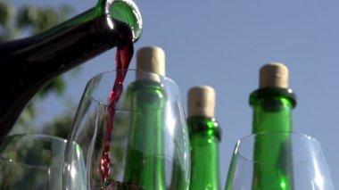 Gieten van rode wijn in goblet. — Stockvideo