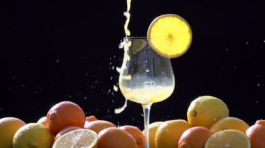 Intensively Pouring Orange Juice. — Stock Video