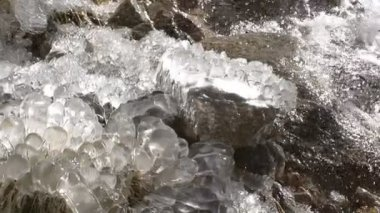 Waterfall Surrounded by Ice — Stock Video