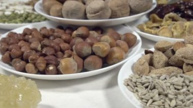Vegetarian Food and dried fruits — Stock Video