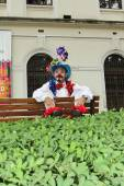 Funny clown with typical costumes — Stock Photo