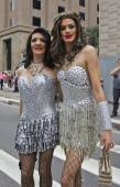 Two persons wearing costumes in Pride Parade Sao Paulo — Stock Photo