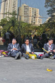 Group of man after Bolivian Independence Day parade in Brazil — Stock Photo