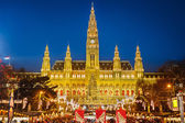 Rathaus and Christmas market in Vienna — Foto Stock
