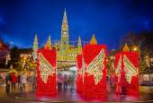 Rathaus and Christmas market in Vienna — Stock fotografie