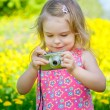Little girl taking pictures on a meadow — Stock Photo #68903961