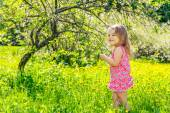 Glückliche kleine Mädchen im sonnigen Frühlingspark — Stockfoto