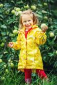 Little girl in the apple garden — Stock Photo