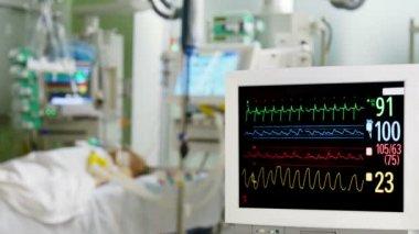 Hospital ECG monitor — Stock Video