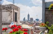 View of downtown skyscrapers from zocalo roofs in Mexico City — Stock Photo