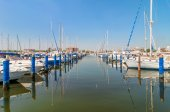 Port of Cervia with boats and yachts on the quay, Italy. — Stock Photo