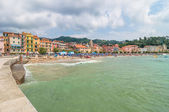 San Terenzo beach and town in Lerici, Italy — Stock Photo