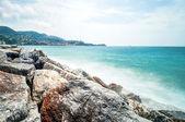 Mediterranean sea long exposure in Lerici - Italy — Stock Photo