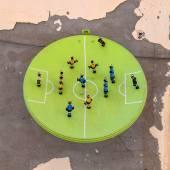 Football art installation in Syracuse - Italy — Stock Photo