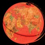 Terrestrial globe on black background — Stock Photo #71524069