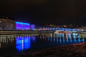 Lyon skyline during Festival of lights — Stock Photo