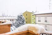 Winter urban detail during intense snowfall — Stock Photo