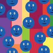 Seamless pattern with blue smileys over retro background — Stock Vector