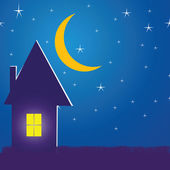 Illustration with a house in the night — Stock Vector