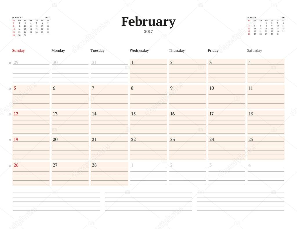 Calendar Template for 2017 Year February Business Planner – 3 Week Calendar Template