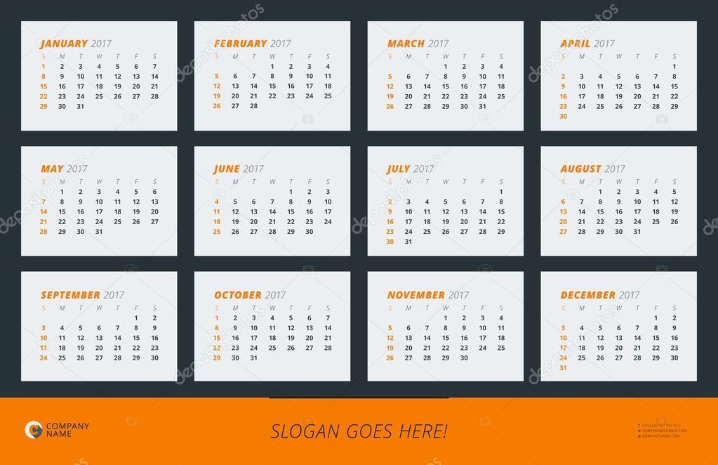 Muur kalender Poster voor 2017