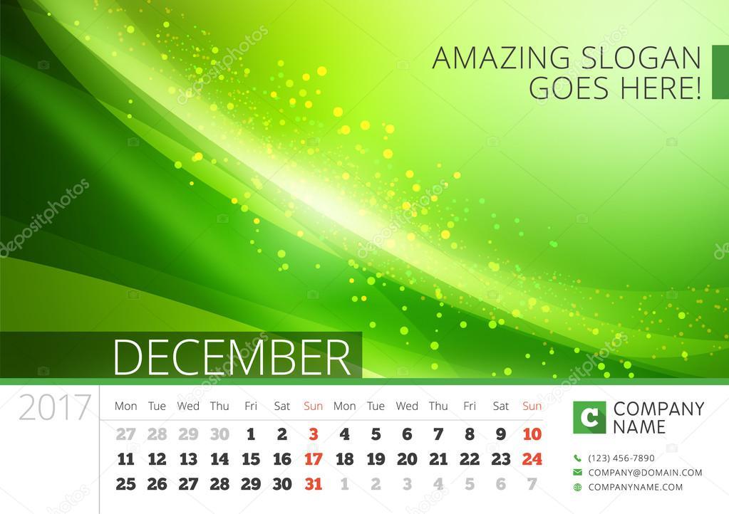 2017 年度卓上ライン カレンダー。ベクトルは抽象的な背景を持つ印刷テンプレートをデザイン。12 月。月曜始まり \u2013 ストックイラストレーション