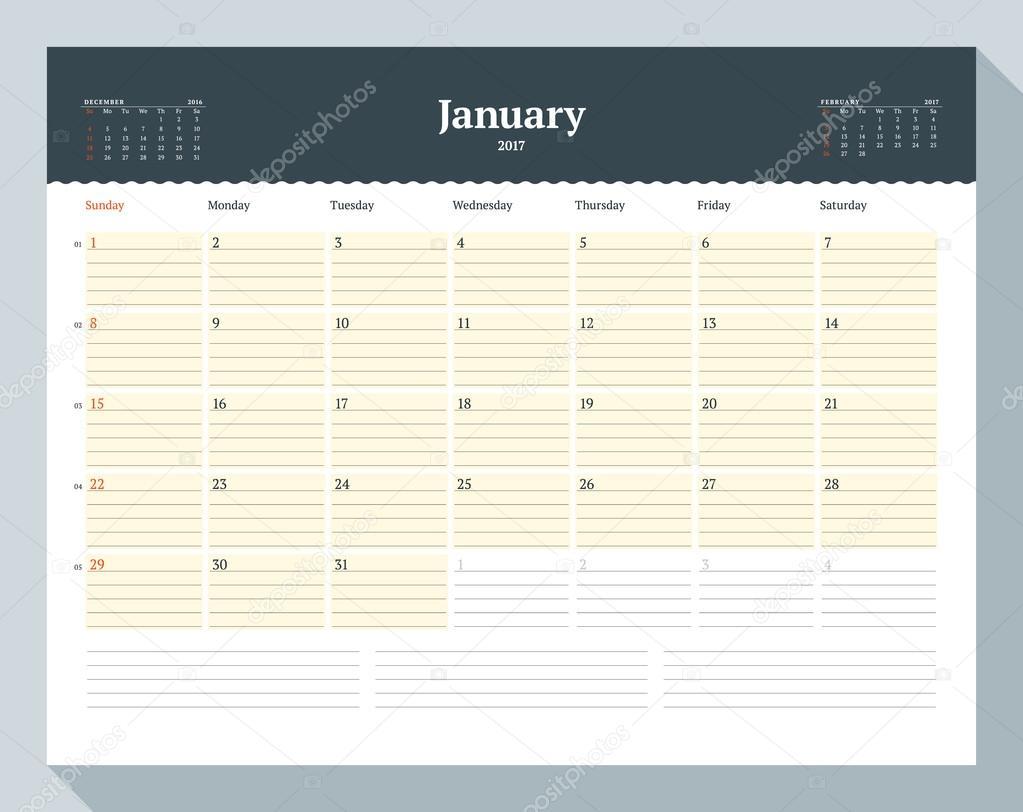 Calendar Template for 2017 Year January Business Planner – 3 Week Calendar Template