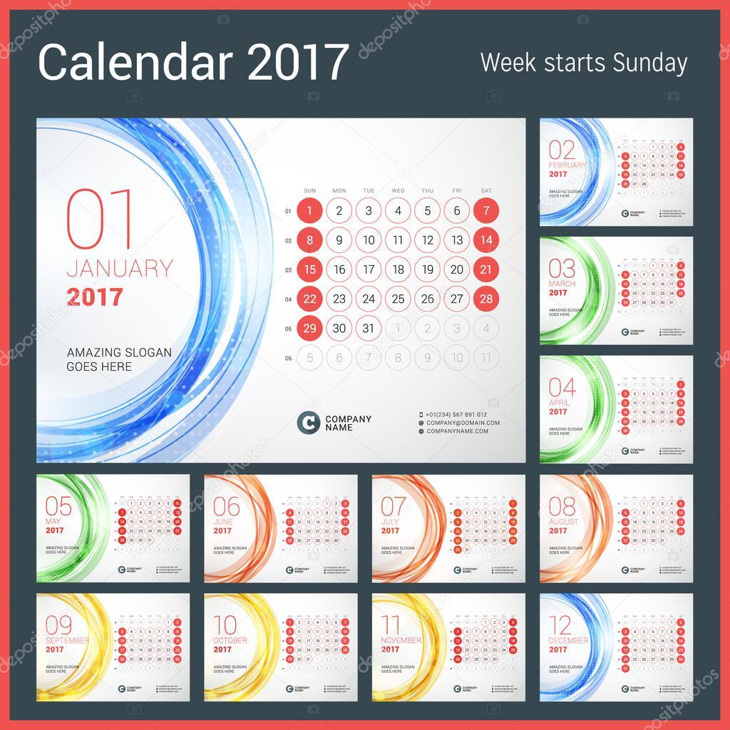 2017 年の卓上カレンダー。12 月のセット。週は日曜日から開始します。抽象的な円形の背景を持つベクター デザイン印刷テンプレート \u2013 ストックイラストレーション