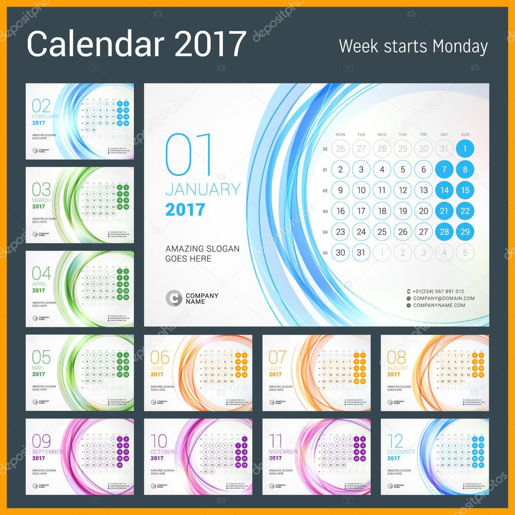 2017 年の卓上カレンダー。12 月のセット。月曜始まり。抽象的な円形の背景を持つベクター デザイン印刷テンプレート \u2013 ストックイラストレーション