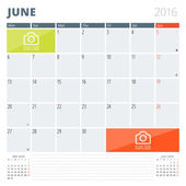 Calendar Planner 2016 Design Template with Place for Photos and Notes. June. Week Starts Monday — Stock Vector