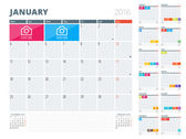 Calendar Planner 2016 Design Template with Place for Photos and Notes. Set of 12 Months. Week Starts Monday — Stock Vector
