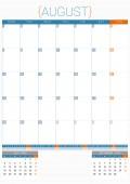 Kalendarz terminarz 2016 szablon projektu. Sierpnia. Tydzień zaczyna się od poniedziałku — Wektor stockowy