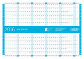 Blue Calendar Planner 2016 Year. Vector Design Print Template. Week Starts Monday — Stock Vector