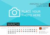 Desk Calendar 2016 Year. Vector Design Print Template with Place for Photo. March. Week Starts Monday — Stock Vector