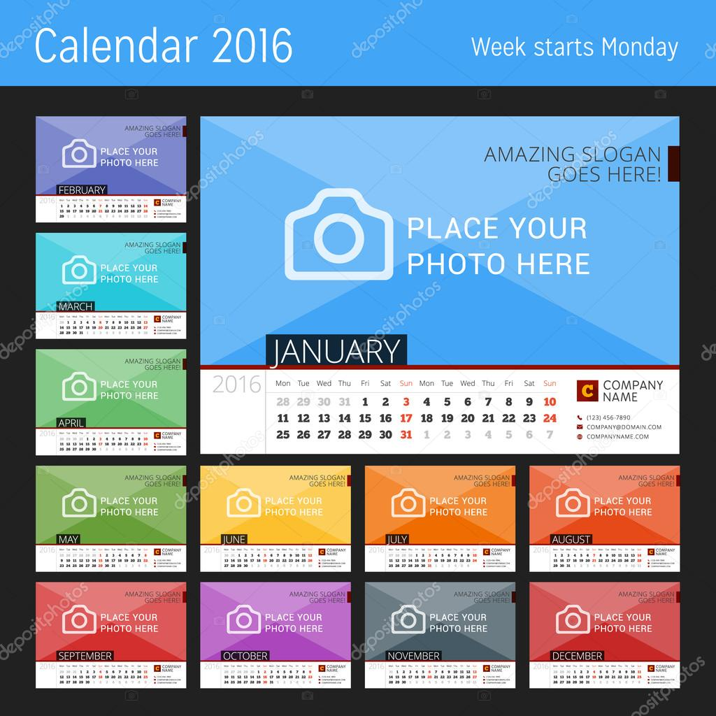 卓上カレンダー 2016 年。写真のための場所を持つベクター デザイン印刷テンプレート。12 月のセット。月曜始まり\u2014 Vector by mikhailmorosin