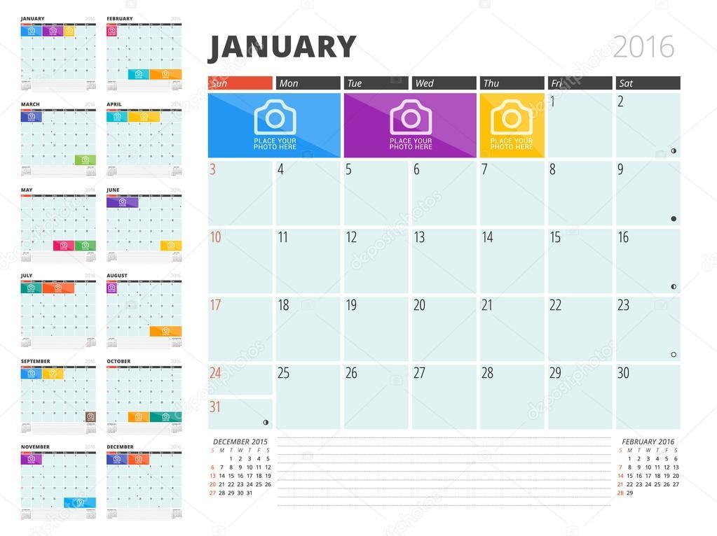 写真やメモのための場所とカレンダー プランナー 2016年デザイン テンプレートです。12 月のセット。週の開始日\u2014 Vector by mikhailmorosin