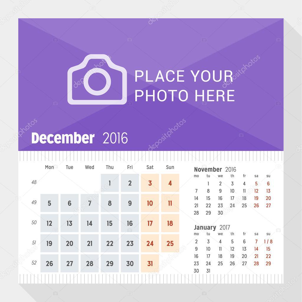 2016 年 12 月。2016 年の卓上カレンダー。月曜始まり。ページに 3 ヶ月。写真のための場所を持つベクター デザイン印刷テンプレート \u2013 ストックイラストレーション