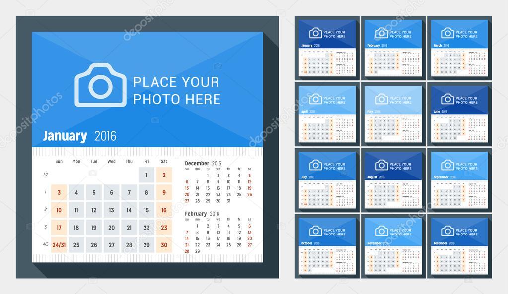 2016 年の卓上カレンダー。週は日曜日から開始します。ページに 3 ヶ月。12 月のセット。写真のための場所を持つベクター デザイン印刷テンプレート \u2013 ストック