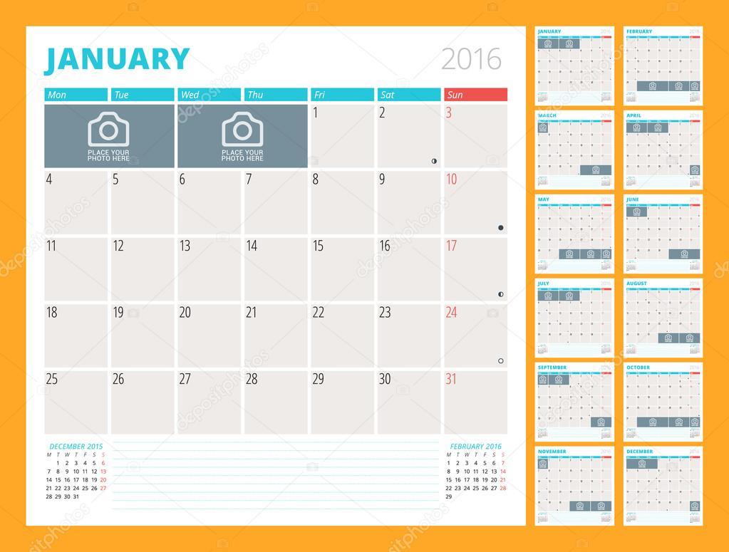 2016 年度月間カレンダー プランナー。12 月のセット。月曜始まり。ベクター デザイン印刷テンプレート \u2013 ストックイラストレーション