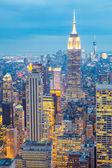 Panorama new yorku za soumraku — Stock fotografie