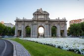 Gate at Independence Square Madrid Spain — Стоковое фото