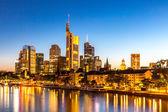 Frankfurt Skyscraper in Germany at dusk — Stock Photo