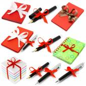 Set of stationery with bow — Stock Photo