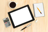 Tablet PC, cup of coffee with office supplies — Photo
